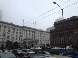 Looming out of the fog: The Fairmont.